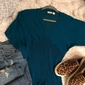 Teal dolman sleeve V-neck sweater